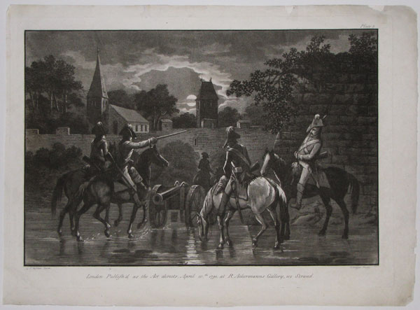 [Untitled: moonlit scene of five cavalrymen watering their horses before a fortified town.]