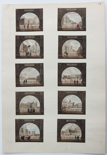 [Set of views of London sites seen through arches.]