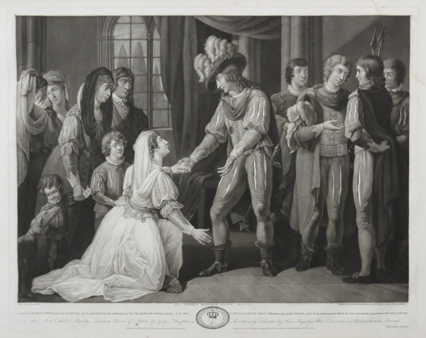 Lady Elizabeth Grey, at the feet of Edward the Fourth, soliciting the restoration of her late Husband's forfeited lands, A.D. 1465.