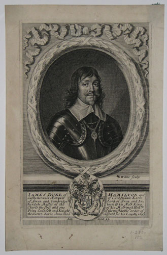Iames Duke of Hamilton and Castle-her auld Marquis of Cliddisdale Earle of Arran and Cambridge Lord of Aven and In-nerdale Master of the horse to his Ma.ty most Hon.ble Privy Councell and Knight of the most noble order of the Garter. Borne Anno 1606
