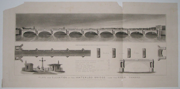 Plan and Elevation of the Waterloo Bridge over the River Thames.