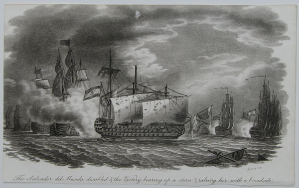 The Salvador del Munda disabled & the Victory bearing up a stern & rakeing her with a broadside.
