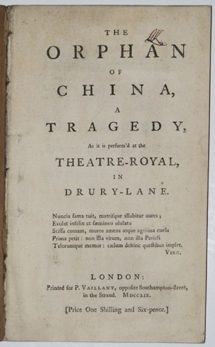 The Orphan of China, a Tragedy,