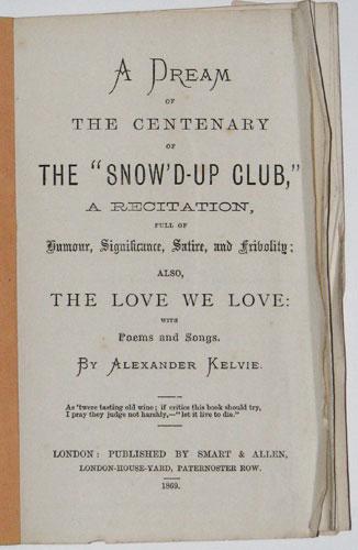 A Dream Of The Centenary Of The Snow D Up Club A Recitation