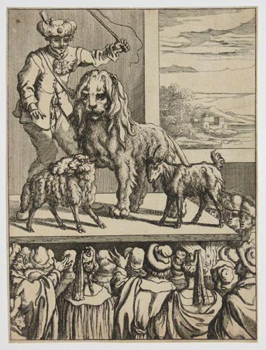 [Lion with lion-tamer performing on stage; from Aesop's Fables.]