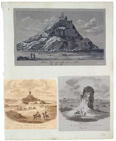 [7 pen and ink sketches of Mesapotamia/Iraq and a pencil drawing of the Pyramids.]