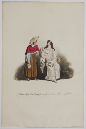 Home dress of a Lady of rank her Servant of Chili.