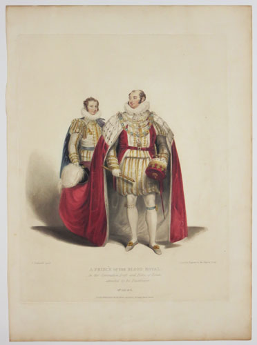 A Prince of the Blood Royal. In the Coronation Dress and Robes of Estate, attended by his Trainbearer.