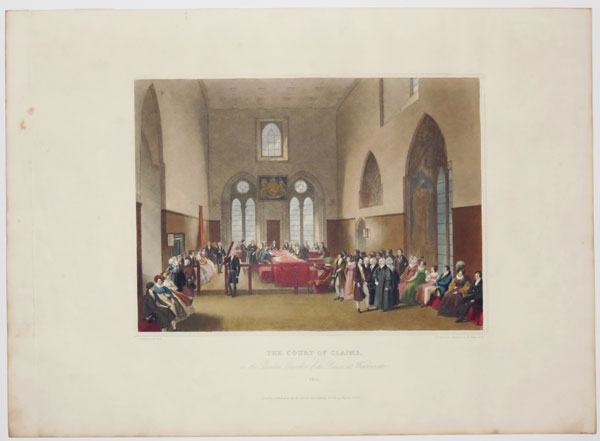 The Court of Claims, in the Painted Chamber of the Palace at Westminster. 1821.