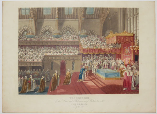 Procession of the Dean and Prebendaries of Westminster, with The Regalia,