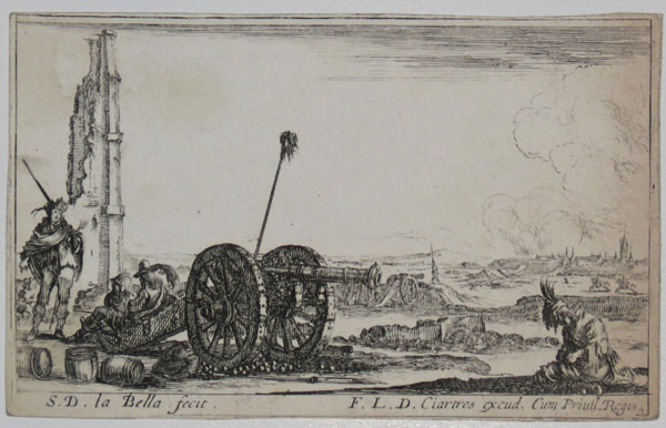 [Cannon with two soldiers sat on its carriage]