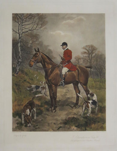 "F. Champion on ""Tally Ho"". Huntsman to the Cheshire Hounds."