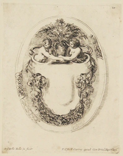 [Cartouche with two women holding a vase of flowers.]