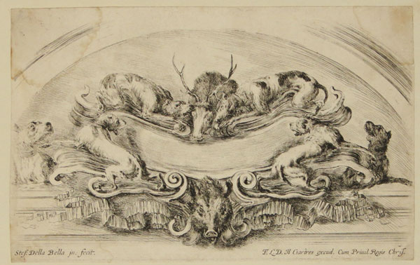 [Cartouche with dogs]