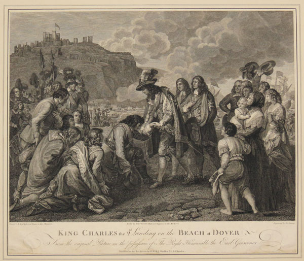 King Charles the 2nd Landing on the Beach at Dover.