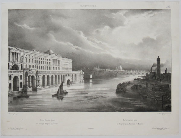 View of Somerset House and principal Edifices of London. Vue de Somerset House et des principaux Monumens de Londres.