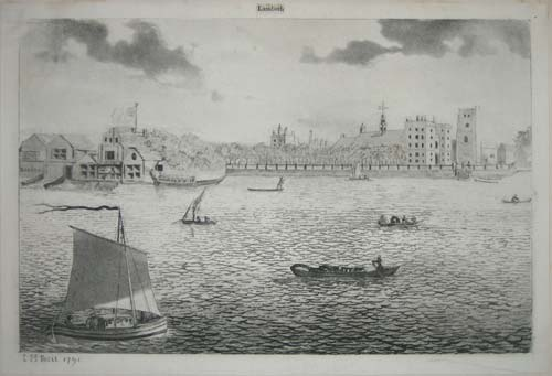 [View of the Thames near Lambeth Palace]. ['Lambeth' cut out from separate broadsheet and pasted above image].