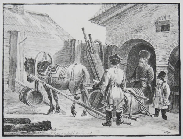 [Russian horse-drawn sledge with barrels.]