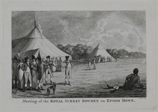 Meeting of the Royal Surrey Bowmen on Epsom Downs.