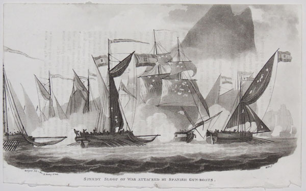 Speedy Sloop of War attacked by Spanish Gun-Boats.