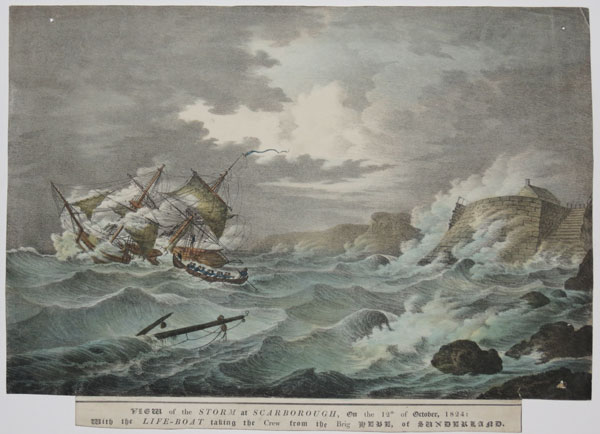 View of the Storm at Scarborough, On the 12th of October, 1824: With the Life-Boat taking the Crew from the Brig Hebe, of Sunderland.