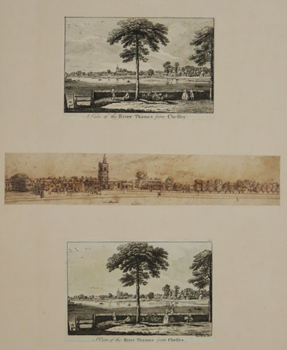 A View of the River Thames from Chelsea [two variants after Jean Baptiste Chatelain (1710? - 1771).]  [With]  [A drawing of the Thames at Chelsea.] (3)