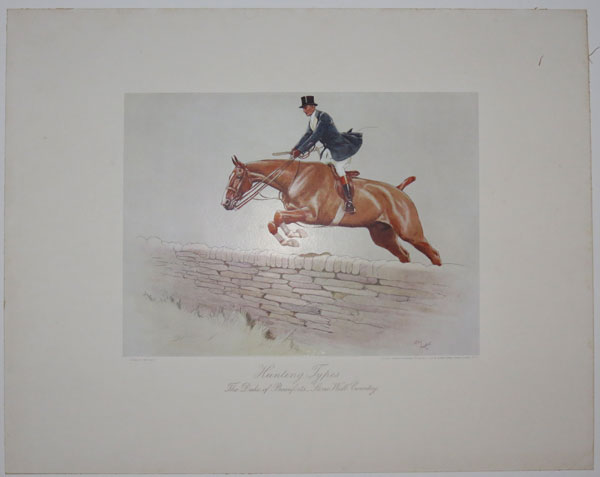 Hunting Types. The Duke of Beaufort's Stone Wall Country.