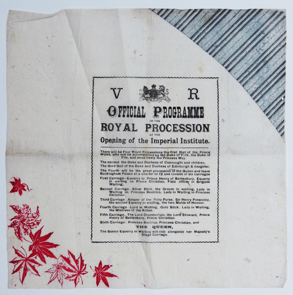 V R. Official Programme of the Royal Procession at the Opening of the Imperial Institute.