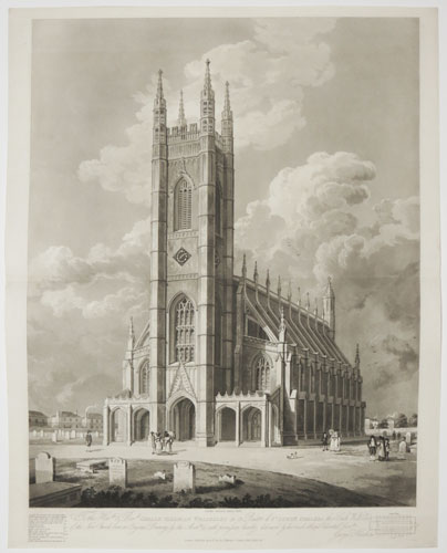 To the Hon.ble & Rev.d Gerald Valerian Wellesley DD Rector of St Luke's Chelsea, this South West View of the New Church from an Original Drawing by the Arch.t is with permission humbly dedicated by his much obliged & devoted Serv.t George Hawkins.