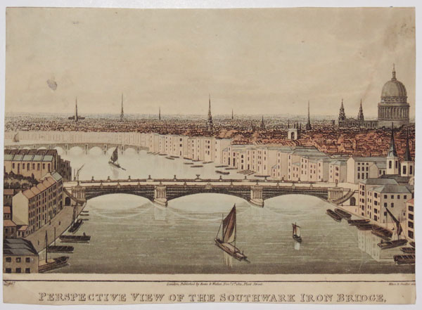 Perspective View of the Southwark Iron Bridge [Taken from the Top of the Shot Manufactory at London Bridge.]
