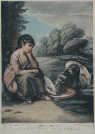 Girl and Piggs. From the Original Picture in the Collection of the Right Honourable the Earl of Gainsborough.