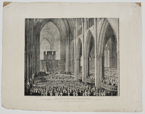 View of the Interior of York Minster, with the Orchestra erected under the Great Tower for the Musical Festival. September, 1825.