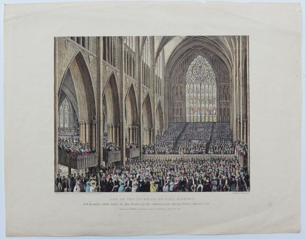 View of the Interior of York Minster. With the Gallery erected under the West Window, for the Audience at the Musical Festival, September, 1828.