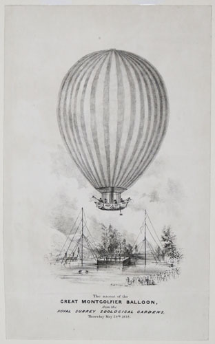The ascent of the Great Montgolfier Balloon,