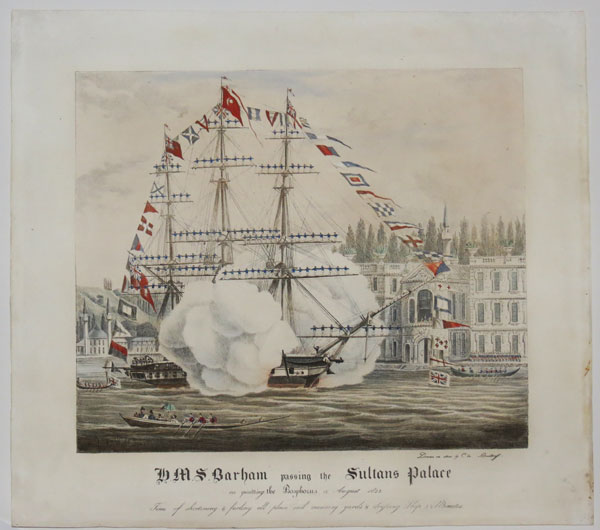 H.M.S. Barham passing the Sultans Palace on quitting the Bosphorus 12 August 1832.