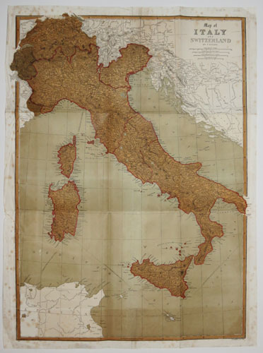 Map of Italy and Switzerland by T. Ettling.