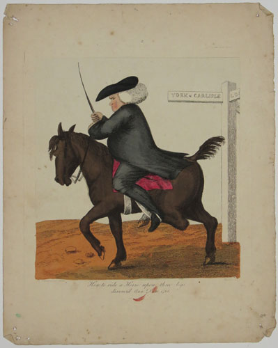 How to ride a Horse upon three legs discover'd Ann. Dom. 1768.