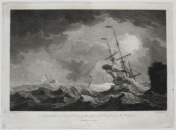 [A stormy sea with two ships and a buoy at centre.]  Engraved after an Original Picture of Monamy in the possession of Mr Bradford.