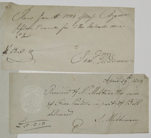 [Two hand-written receipts signed by Samuel Middiman, engraver.]
