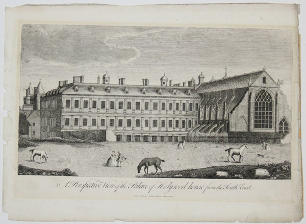 A Perspective View of the Palace of Holyrood house from the South East.
