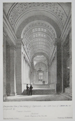 Perspective View of the Gallery of Approach to the New House of Commons, as proposed by Francis Goodwin, Architect.