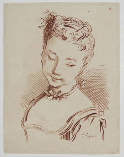 [A young woman, with necklace and flower in her hair.]