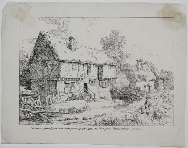 [Houses by a stream, with a bridge.]