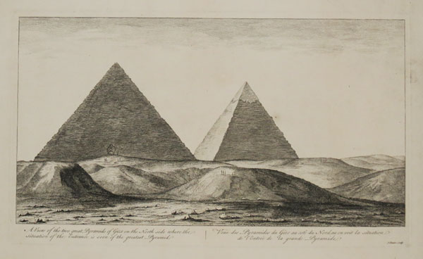 A View of the two great Pyramids of Gize on the North side where the situation of the Entrance is seen of the greatest Pyramid.