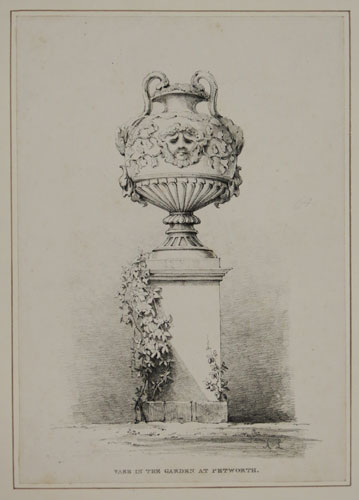 [A decorated urn on a plinth]  Vase in the Garden at Petworth.