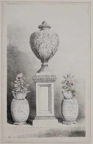 [A decorated urn on a plinth, between a pair of standing chinoiserie vases (interior).]