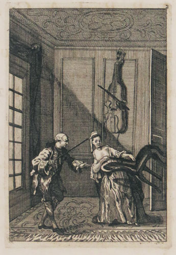 [A music teacher and lady in an interior.]