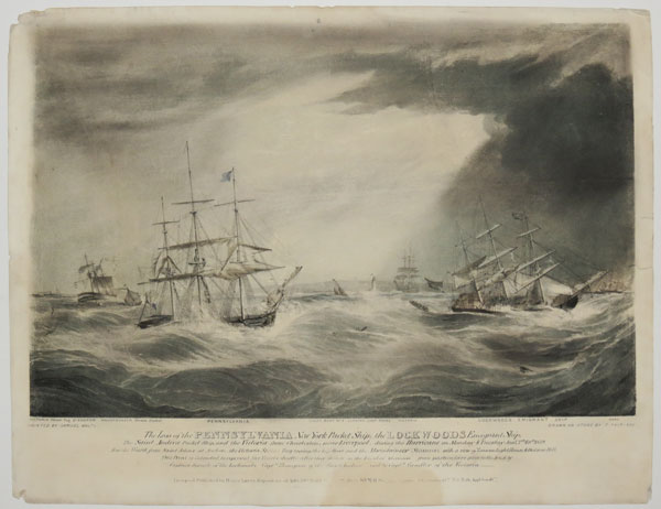 The Loss of the Pennsylvania New York Packet Ship; the Lockwoods Emigrant Ship; The Saint Andrew Packet Ship, and the Victoria from Charleston; near Liverpool, during the Hurricane on Monday & Tuesday Jan.y 7.th & 8.th 1839.