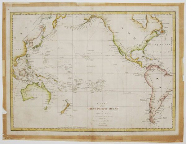 Chart of the Great Pacific Ocean or South Sea, To Illustrate the Voyage of Discovery made by the Boussole and Astrolabe in the Years 1785, 86, 87 & 88.
