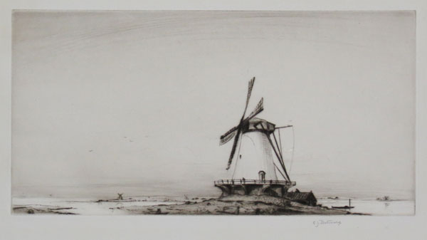 [A flat, watery landscape with two windmills.]
